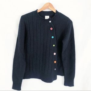 Garnet Hill asymmetrical cardigan sweater M black
